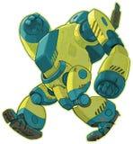 Roboter-Vektorkarikatur des Riesen gehende gelbe Lizenzfreie Stockbilder