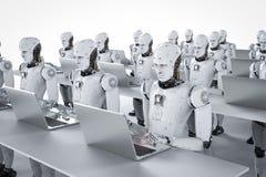 Roboterarbeit über Laptop stock abbildung