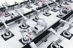 Roboterarme mit Fördererlinie Stockbild