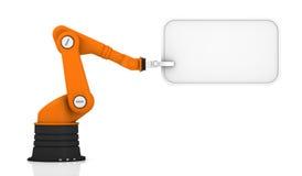 Roboterarmholdingmarke lizenzfreie stockfotos