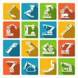 Roboterarmikonen flach Lizenzfreies Stockbild