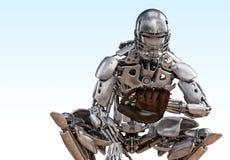 Roboterbaseball-spieler-Fänger Technologiekonzept der künstlichen Intelligenz des Cyborgroboters Abbildung 3D stock abbildung