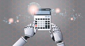 Roboterbuchhalter, der Technologiekonzept der künstlichen Intelligenz der Taschenrechnerspitzenwinkelsicht digitales futuristisch lizenzfreie abbildung