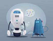 Robotercharakter Technologie, Zukunft Katze entweicht auf ein Dach vom Ausländer lizenzfreie abbildung