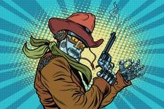 Robotercowboy wilde West-, OKAYgeste lizenzfreie abbildung