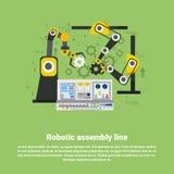 Roboterfließband industrielle Automatisierungs-Industrie-Produktions-Netz-Fahne Lizenzfreie Stockbilder