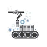 Roboterfließband industrielle Automatisierungs-Industrie-Produktions-Netz-Fahne Stockbild