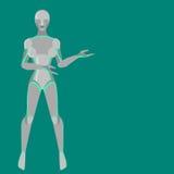 Roboterfrau, weiblicher Cyborg, Technologiecharaktere, flacher Humanoid von der Zukunft, mechanischer Chromkörper, Lizenzfreie Stockfotografie