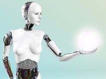 Roboterfrauenholding-Energiekugel. Lizenzfreie Stockfotos