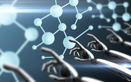 Roboterhände, die Molekülformel berühren Stockfoto