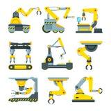 Roboterhände für Maschinenindustrie Illustrationen der mechanischen industriellen Ausrüstung lizenzfreie abbildung