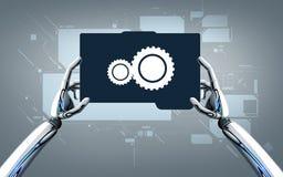 Roboterhände mit Tabletten-PC über grauem Hintergrund Stockfotografie