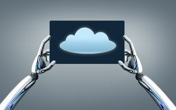 Roboterhände mit Wolkenbild auf Tabletten-PC-Schirm Stockbilder