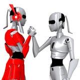 Roboterhaltung arbeiten zusammen Stockfotografie