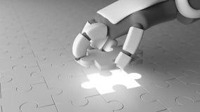 Roboterhand, die das letzte Stück des Puzzlen setzt, um w abzuschließen stock abbildung