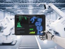 Roboterhand, die mit digitaler Tablette arbeitet stockbild