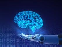 Roboterhand, die virtuelles Gehirn hält Künstliche Intelligenz lizenzfreie abbildung