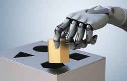 Roboterhand mit Logik-Kasten lizenzfreie abbildung