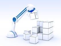 Roboterhand mit Würfeln lizenzfreie abbildung