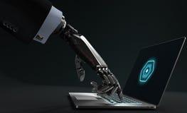 Roboterhand in rührender Laptoptastatur des Anzugs Stockbild