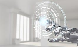 Roboterhandarbeiten mit Ikone in der virtuellen Realität Wiedergabe 3d Lizenzfreie Stockbilder