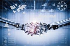 Roboterhanderschütterung mit virtueller Grafik lizenzfreie abbildung