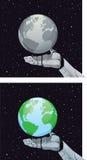 Roboterhand, die Planeten hält Stockfoto