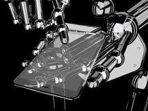 Roboterhandholding und Note auf transparentem Smartphone stockbilder