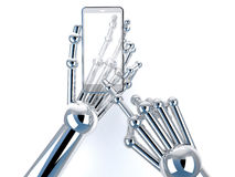 Roboterhandholding und Note am transparenten intelligenten Telefon lizenzfreies stockfoto