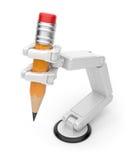Roboterhandholdingbleistift 3d. AI Lizenzfreie Stockfotografie