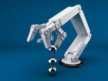 Roboterhandholdingkugel 3d. AI Stockfotografie