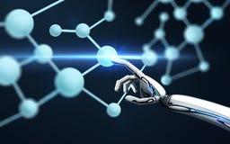 Roboterhandrührende Molekülformel Stockfoto