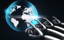 Roboterhandrührendes virtuelles Erdhologramm Stockfoto