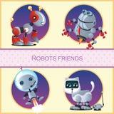 Roboterhund, Käfer, Astronaut und die Katze und die Maus stock abbildung