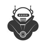 Roboterkarikaturikone Maschinendesign Dekorativer Hintergrund als stilisiert Strudel der Wellen stock abbildung