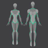 Robotermann und Frau, Mann und weiblicher Cyborg, Technologiecharaktere, flacher Humanoid von der Zukunft, mechanischer Chromkörp Stockfoto