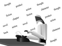 Roboterverfasser am Tisch Lizenzfreies Stockbild