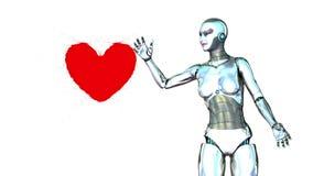 Robotflickan frambringar en hjärta stock illustrationer