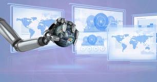 Robothand die met de panelen in wisselwerking staat die van de technologieinterface wereldbol houden Royalty-vrije Stock Foto