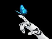 Robothand en vlinder Stock Afbeeldingen