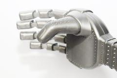Robothand en vlinder Metaalhand cyborg Close-up Witte achtergrond royalty-vrije stock foto