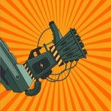 Robothand med det ok tecknet Retro komisk stil Tappningkonst stock illustrationer