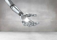Robothand med vitt ljus stock illustrationer