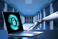 Robothand met laptop Stock Afbeelding