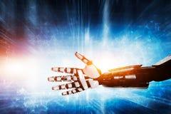 Robothand op moderne achtergrond stock foto