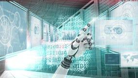 Robothand som påverkar varandra med teknologimanöverenheten och kodsäkerhet och identitet stock illustrationer