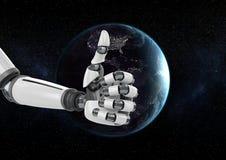 Robothand tegen bol op achtergrond Stock Afbeeldingen