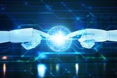 Robothanden die op technologieachtergrond betrekking hebben, het Concept van de Kunstmatige intelligentietechnologie royalty-vrije stock fotografie