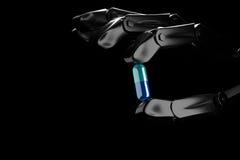 robothanden för illustrationen 3d håller preventivpilleren Arkivfoton
