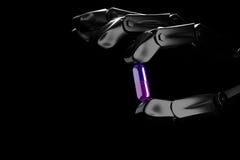 robothanden för illustrationen 3d håller preventivpilleren Arkivbild